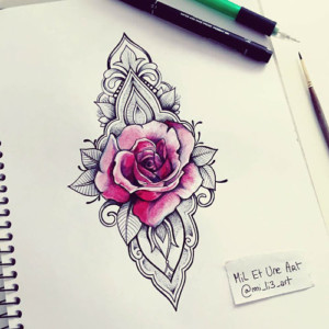 Ornamental rose tattoo designs for girls