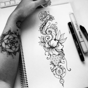 Black and white nature tattoos