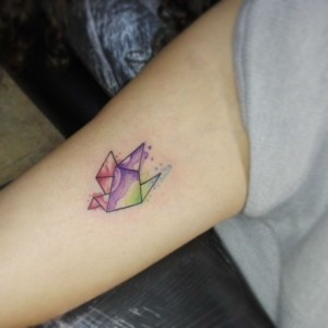 Watercolor origami tattoo Small Tattoos For Women