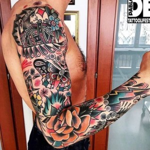 American Traditional Tattoo Man Arm