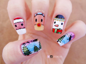 figuras navideñas diversas manicura